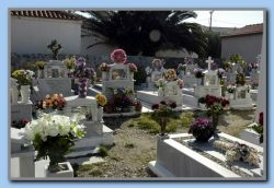 cemetery decorated for Easter