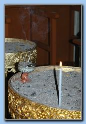 incense & candle in the church