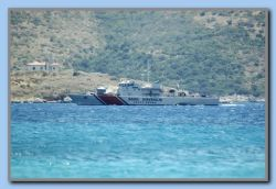 Turkish coast guard passing Mykali.