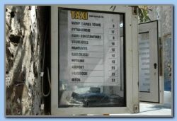Taxi price list