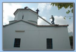 Changing tiles on Agios Panagia